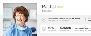 Dental specialist Rachel using the dental temp agency system Cloud Dentistry